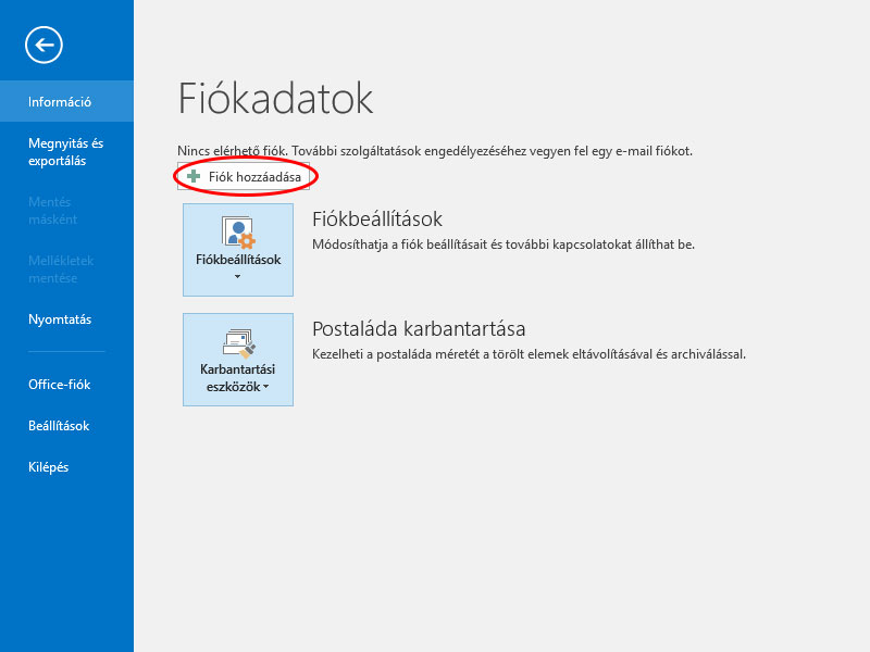outlook fiok hozzaadas